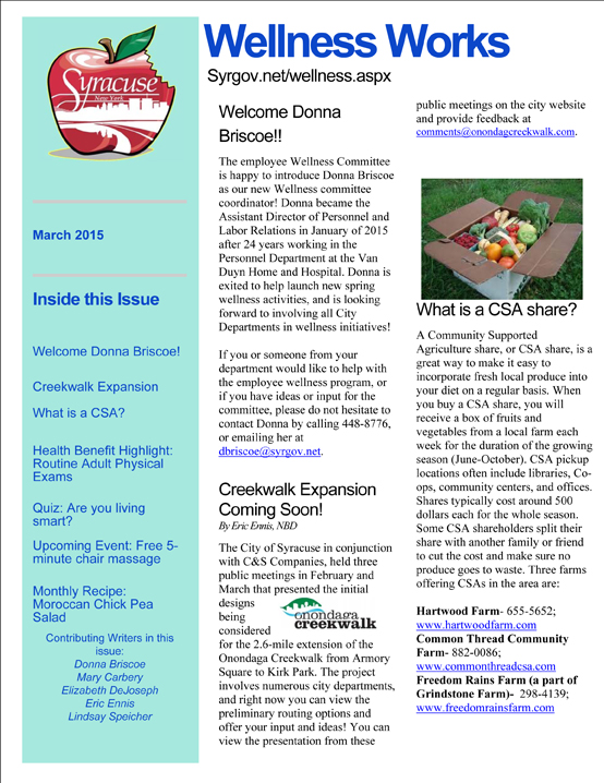 July 2013 Wellness Newsletter